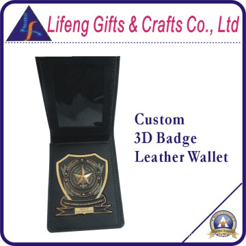 Custom Logo 3D Badge Leather Wallet