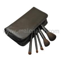 Brosse de maquillage 5PCS Travel avec étui en cuir élégant