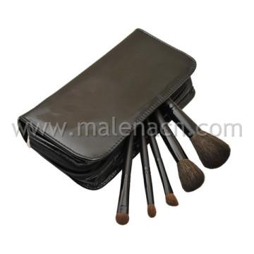 5PCS Travel Makeup Brush with Stylish Leatherine Case