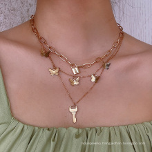 Hip-hop key design money ornaments creative punk mix and match small butterfly lock-shaped necklace