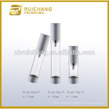 15ml / 20ml / 30ml bouteille sans cosmétiques en aluminium, bouteille cosmétique airless métallique, bouteille de pompe à cosmétiques