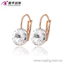 28666 Nueva moda elegante joyería cristalina pendiente del aro en aleación de cobre