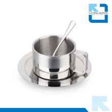 Alta calidad 3 piezas taza de café de acero inoxidable y taza con cuchara