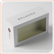 crisp white ink print box attach PVC display window on the cover