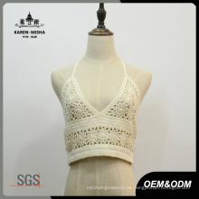 Frauen-reizvolle weiße Baumwolle V-Ausschnitt Bikini Top Beachwear