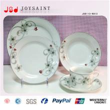 Placa de cerâmica de cerâmica redonda Placa de aço inoxidável barata de porcelana branca para restaurante Hotel
