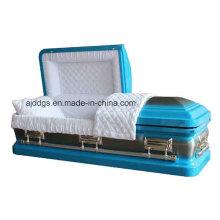Caixão azul com natureza escovada