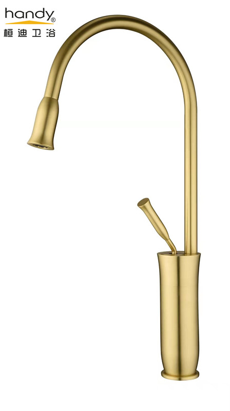 brush golden faucet