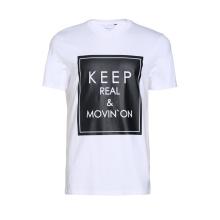 Coton impression mots autour de col des hommes t-shirt