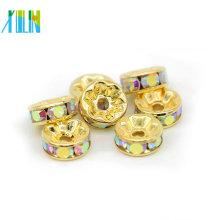 Gold Rondelle Rhinestone Charms Crystal Spacer Beads para hacer pulseras de joyería
