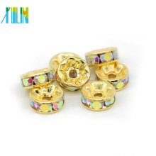 Gold Rondelle Rhinestone Charms Crystal Spacer Beads For Jewelry Bracelets Making