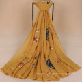 Wholesale Embroidered cashew flower cotton voile women scarf national style colorful shawl scarf