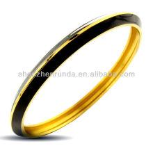 Negro encantadora de oro plateado joyas pulsera brazalete de esmalte Vners