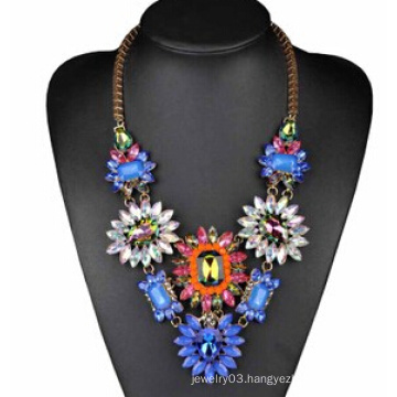 Colorful Stone Flower Necklace (XJW13713)