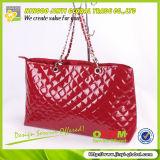 2013 Popular red glassy PVC quilted promotion bag ladies shoulder bag