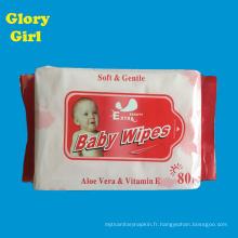 Haute qualité de soins personnels coton doux gratuit féminin 80 par lingettes humides