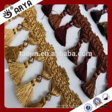 Revestimentos de cortina de estoque de poliéster com fraldas de borla coloridas