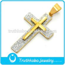 Joyas de acero inoxidable para hombre Colgante de cruz pesada Colgante de cruz lateral de Jesus