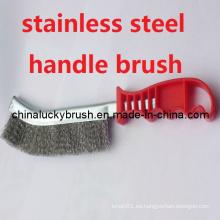 Plástico manija de acero inoxidable alambre cepillo de pulido (yy-353)