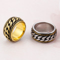 Punk Stainless Steel Mens Gold Chain Ring Jewelry