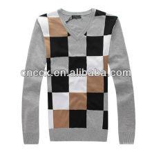 12STC0584 plaid mens v cuello suéter patrón que hace punto