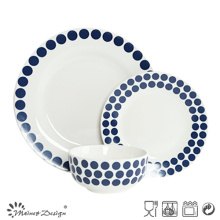 18PCS Ceramic Dinner Set with Blue Dots Decal Design