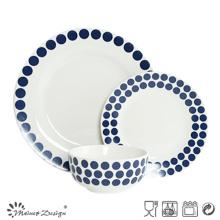 Jogo de jantar cerâmico 18PCS com projeto azul do decalque dos pontos