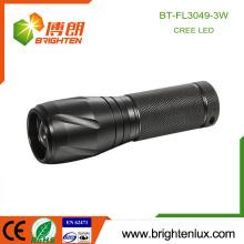 Fabriqué en usine 3 * aaa Batterie Matériau en aluminium usagé Boîtier noir Eclaircissant Q3 Puissance élevée Lampe focale