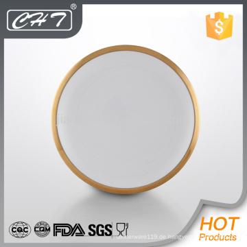 A002 Bone China Hotel Restaurant verwendet Geschirr Platte mit Goldrand
