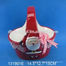 Presente cerâmico da cesta do Natal da venda por atacado da qualidade excelente com pintura de sorriso de Santa