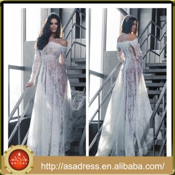 LB22 Últimas Sexy Ver a través de diseño Tulle encaje Applique fuera del hombro de manga larga vestido de boda Bohemian