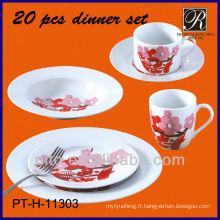 Usine de porcelaine PT, set de vaisselle avec décalque, design à la pointe du volant, prix bon marché