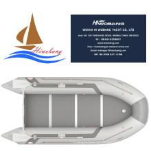 Luz cinza inflável barco a remos com piso opcional