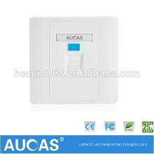 Aucas Marca rj45 placa de enchufe de pared placa de pared de cable de red de puerto único