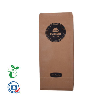 Makanan Grade Brown Craft Paper Coffee Packaging Bag
