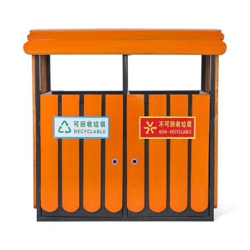 Cubo de basura de acero-madera al aire libre separado (C6500)