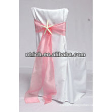 Durable polyester chair cover and organza sash for banquet/wedding