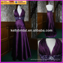 2014 new hot sale purple fashion evening dress with a crystal belt