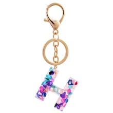 Porte-clés breloque lettre acrylique