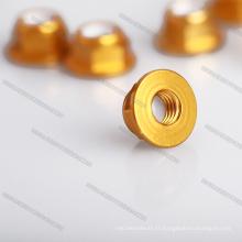 Écrous hexagonaux couleur argent Écrou de roue dentelé 4 mm