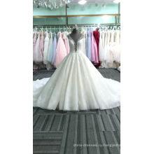 Алибаба элегантный V-образным вырезом женщин кружева платье свадебное платье 2017 DY028 для новобрачных
