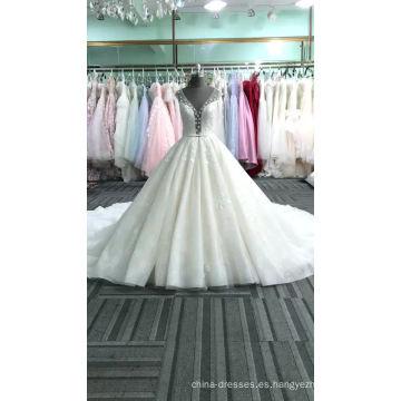 Alibaba elegante con cuello en v mujeres del cordón del vestido de boda del vestido 2017 DY028