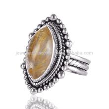 Vintage Style Ethnic Designer 925 Sterling Silber Ring mit natürlichem Rutilated Quarz Edelstein