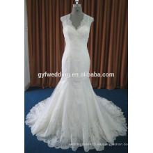 Real Image Guangzhou vestido de fábrica de cuello en V sin mangas de encaje de longitud Vestidos Appliqués Vestidos de sirena sin espalda vestidos de boda 15003