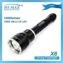 HI-MAX más vendido 200m irradiación loto cabeza de ataque de aluminio linterna linterna de buceo