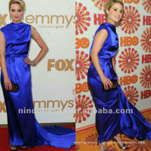 Dianna Agron Royal Blue Sheath Pleated Court Train Celebrity Dress Party Gown