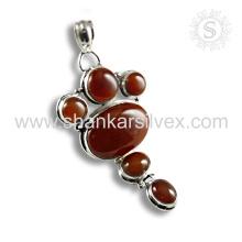 Jóias de pedras preciosas de design novo Pingente Onyx vermelho Fornecedor de jóias em prata esterlina 925
