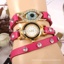 Koreanische personalisierte Lederband Pfau Auge Form Diamant Damen Uhr Armband Quarzuhren Studenten Tisch Großhandel BWL019
