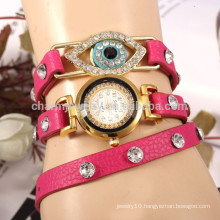 Korean personalized leather strap peacock eye shape diamond ladies watch bracelet quartz watches student table wholesale BWL019