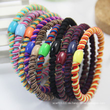 Lady Fashion Kunststoff Bead Spirale Elastic Rubber Hair Bands (JE1584)